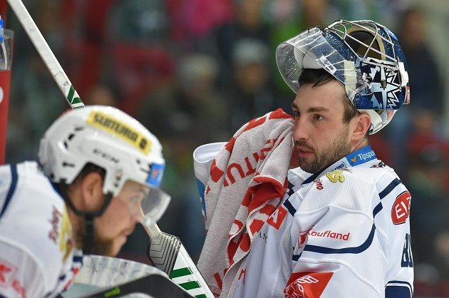 Utkání 6. kola hokejové extraligy: HC Energie Karlovy Vary - Rytíři Kladno, 21. září 2021 v Karlových Varech. Brankář Kladna Landon Bow.