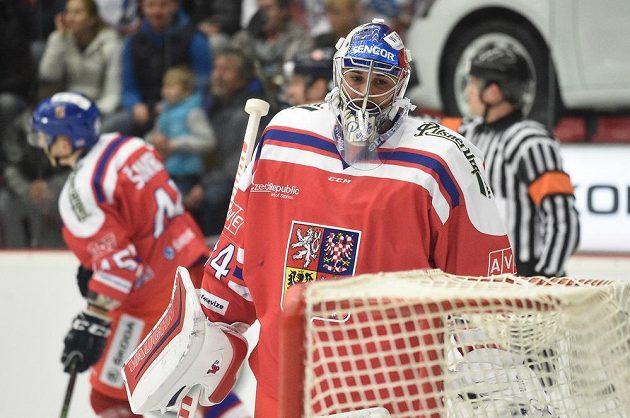 Brankář Petr Mrázek při utkání s Finy v rámci turnaje Carlson Hockey Games v Českých Budějovicích.