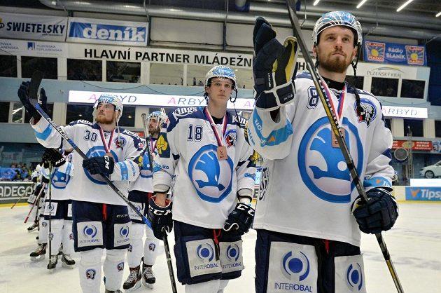 Hokejisté Plzně se loučí s fanoušky.
