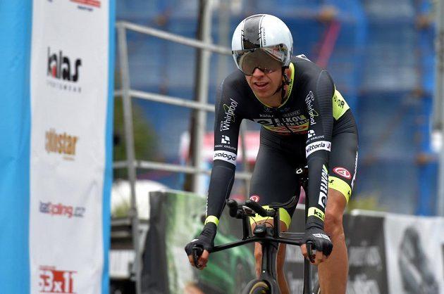 V Karlových Varech se 21. června 2018 jela časovka mistrovství České republiky a Slovenské republiky v silniční cyklistice. Na snímku je vítěz závodu Josef Černý.