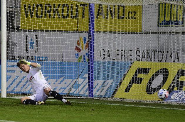 Brankář Bohemians Patrik Le Giang dostává gól.