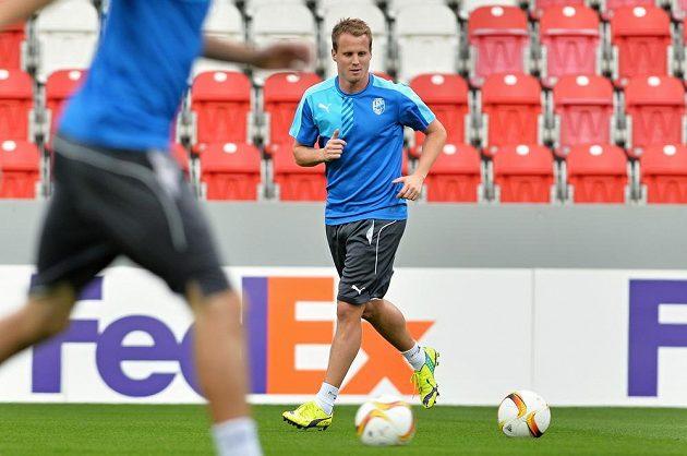 Obránce Viktorie Plzeň David Limberský na tréninku před zápasem Evropské ligy s Minskem.