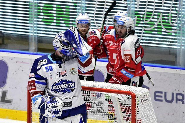 Pardubičtí hokejisté se radují z gólu, vpředu brankář Brna Karel Vejmelka.