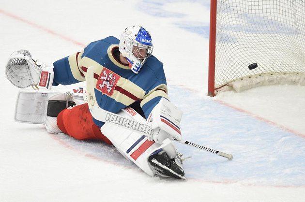 Český brankář Pavel Francouz inkasuje od Švédů gólna Carlson Hockey Games v Českých Budějovicích.