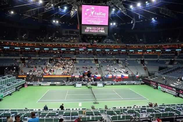 Kurt v O2 aréně před první dvouhrou Petra Kvitová - Andrea Petkovicová.