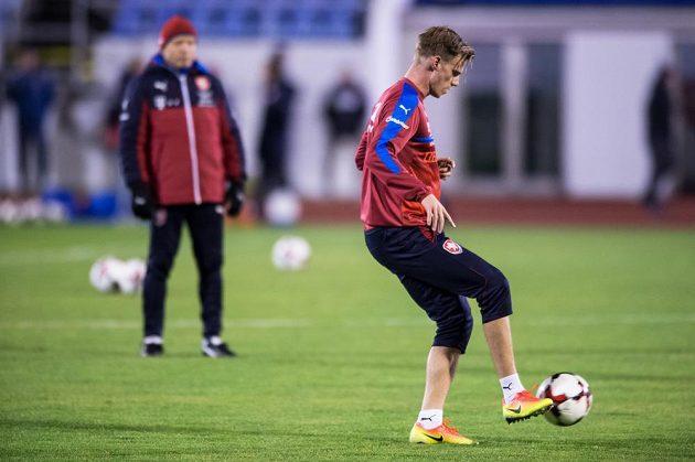 Tomáš Kalas na tréninku fotbalové reprezentace v Praze.