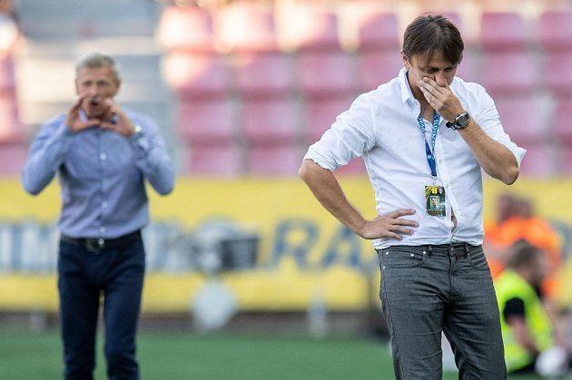Trenér Slovácka Michal Kordula během utkání 3. kola Fortuna ligy, kdy jeho tým prohrál se Spartou 0:1.