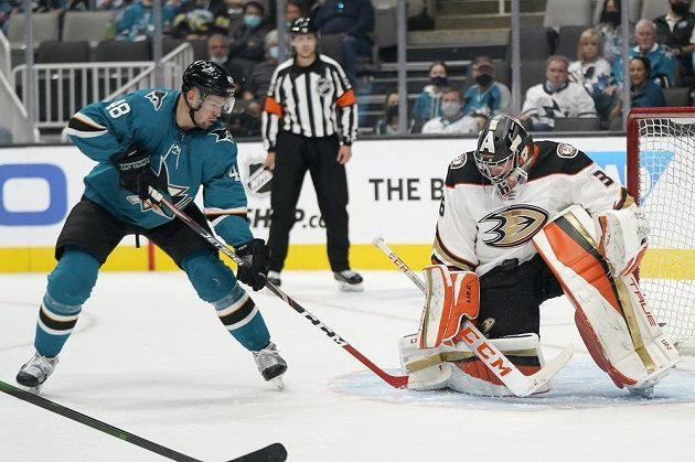 Brankář Anaheimu Ducks John Gibson likviduje šance Tomáše Hertla, útočníka Sharks.