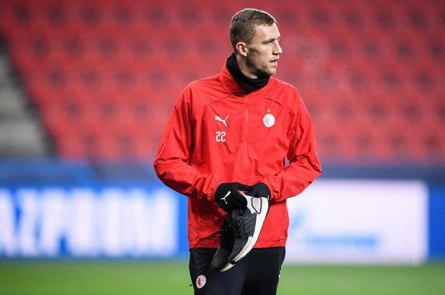 Tomáš Souček ze Slavie Praha během tréninku před utkáním Ligy mistrů s Interem Milán.