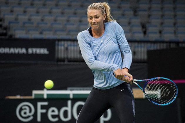 Maria Šarapovová během tréninku před finále Fed Cupu.