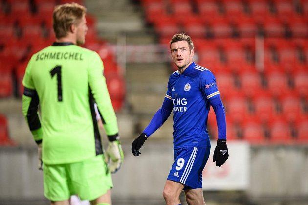 Jamie Vardy z Leicesteru během utkání Evropské Ligy na Slavii.