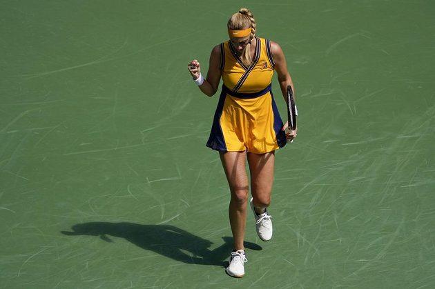Česká tenistka Petra Kvitová během zápasu 3. kola US Open proti Řekyni Marii Sakkariové.