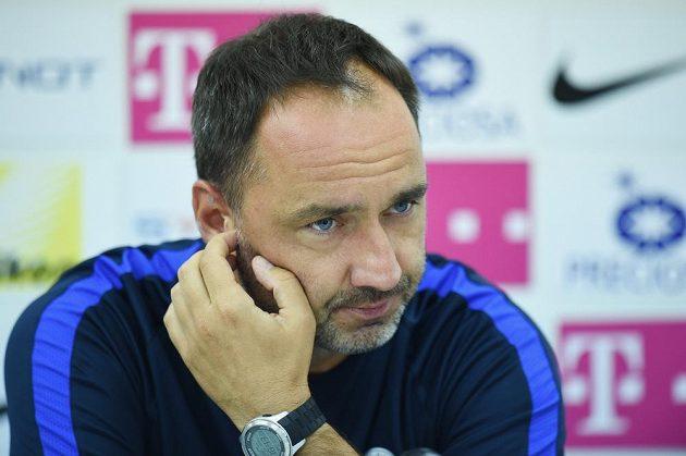 Trenér Slovanu Liberec Jindřich Trpišovský na středeční tiskové konferenci před úvodním duelem s Hajdukem Split.
