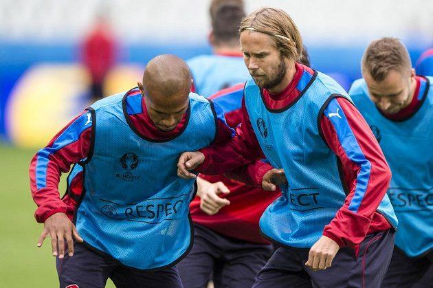 Čeští fotbalisté během tréninku v St. Étienne. Vlevo je obránce Theodor Gebre Selassie, vpravo pak Jaroslav Plašil.