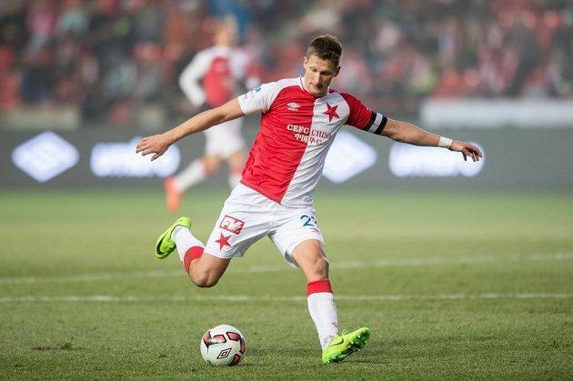 Slávista Milan Škoda během utkání s Jihlavou.