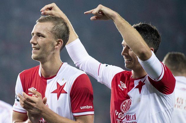 Fotbalisté Slavie Tomáš Souček (vlevo) a Ondřej Kúdela po utkání s Plzní.