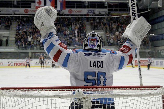 Chomutovský brankář Ján Laco se raduje z vítězného gólu proti Spartě.
