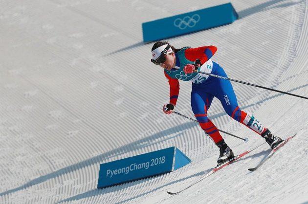 Kateřina Beroušková při závodu na 30 km klasicky.