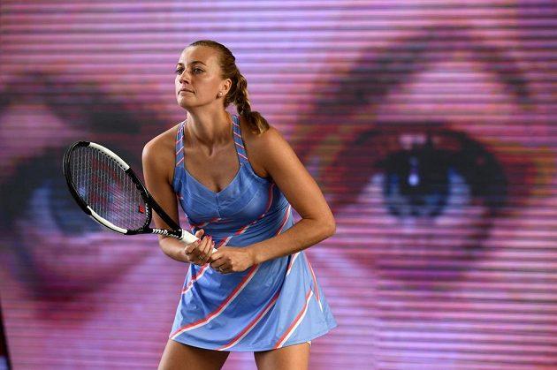 Soustředění Petry Kvitové ve finále exhibičního turnaje v Berlíně.