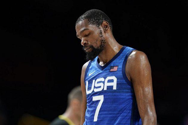 Kevin Durant z týmu USA po prohře s Francií.