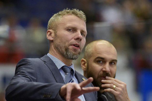 Trenér hokejových Vítkovic Jakub Petr (vlevo) a jeho asistent Pavel Trnka.