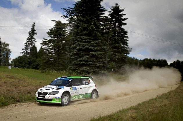 Esapekka Lappi na trati Estonské rallye se Škodou Fabia S2000.