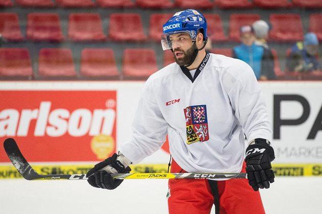 Radko Gudas během tréninku hokejové reprezentace v Českých Budějovicích.