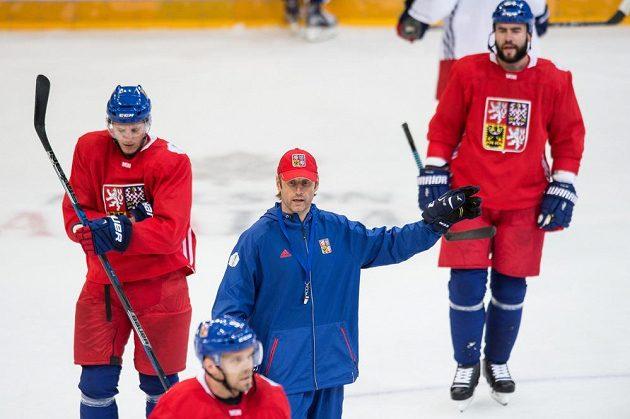 Asistent trenéra Václav Prospal během tréninku české hokejové reprezentace v O2 aréně v Praze.