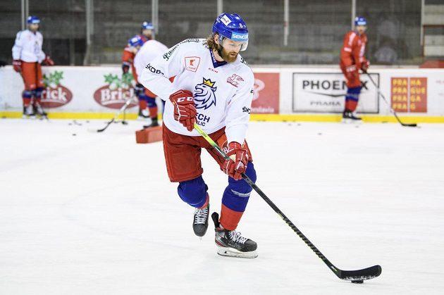David Musil během tréninku hokejové reprezentace před turnajem Beijer Hockey Games.