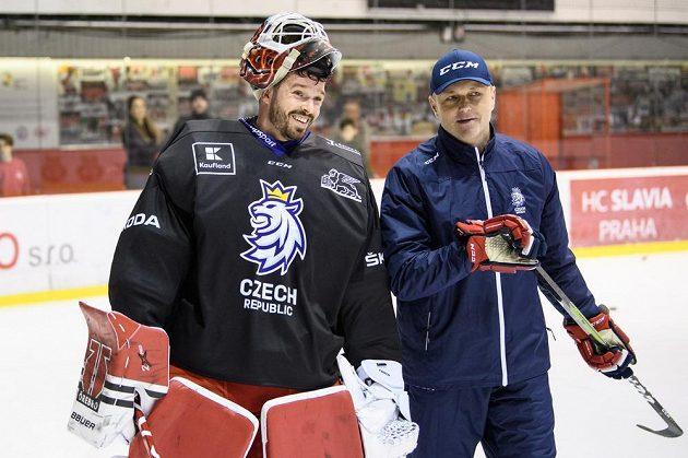 Dominik Furch a Zdeněk Orct během tréninku hokejové reprezentace před turnajem Beijer Hockey Games.