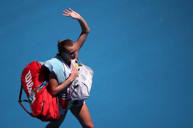 Zklamaná Petra Kvitová po zápase s Australankou Ashleigh Bartyovou.