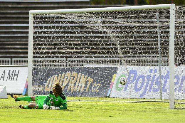 Brankář Hradce Radim Ottmar dostává gól od Liberce.