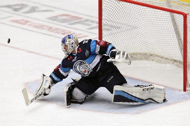 Brankář hokejového Liberce Roman Will v akci.