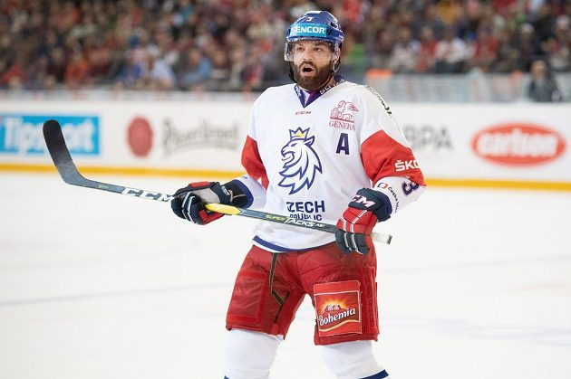 Radko Gudas během utkání s Finy v rámci turnaje České hokejové hry.
