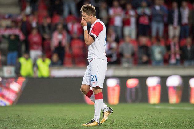 Střelec vítězného gólu Slavie Milan Škoda po utkání 3. předkola Ligy mistrů s FC Bate Borisov. Slavia vyhrála 1:0, šancí ale měla daleko více.