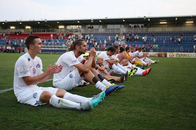 Hráči Slovácka po vítězství nad Příbramí.