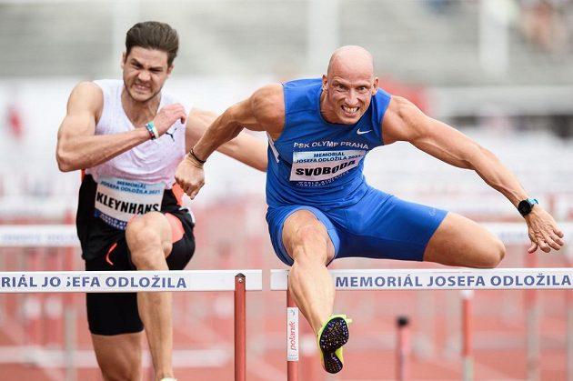 Petr Svoboda během závodu 100 m překážek v rámci Memoriálu Josefa Odložila.