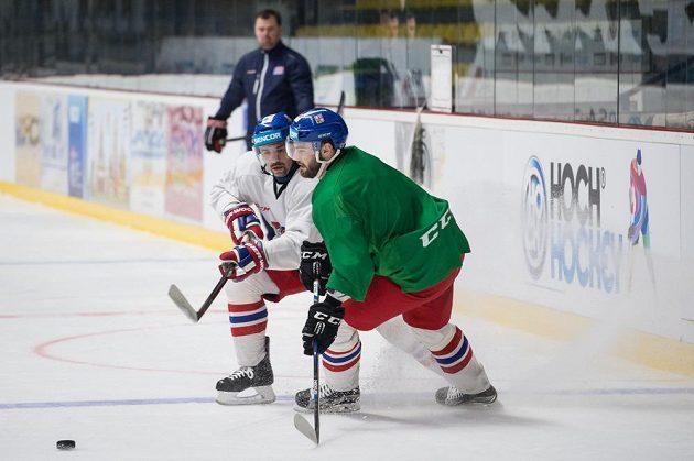 Hokejisté Tomáš Plekanec (vlevo) a Robert Kousal během tréninku reprezentace ve Znojmě.