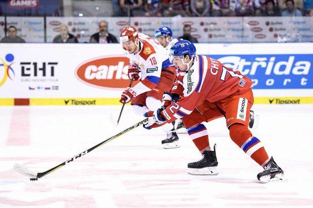 Český útočník Filip Chytil během utkání turnaje Carlson Hockey Games proti Rusku.