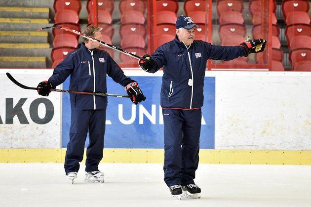 Nový trenér české hokejové reprezentace Vladimír Vůjtek gestikuluje během přípravného kempu v Jihlavě.