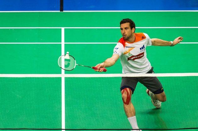 Badmintonista Petr Koukal při mistrovství republiky v Praze.
