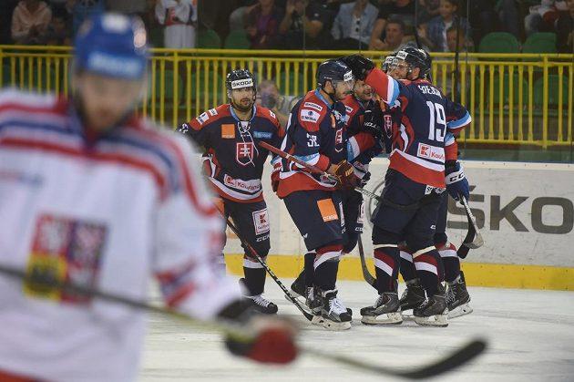 Slovenští hokejisté se radují z gólu proti Česku při utkání v Žilině.