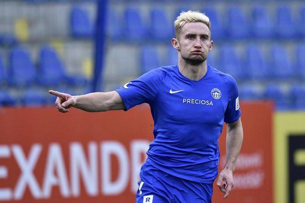 Liberecký útočník Jan Kuchta se raduje ze svého gólu proti Opavě.