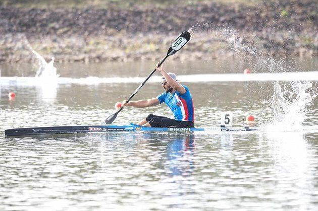 Kajakář Josef Dostál při vítězné rozjížďce na 1000 metrů na mistrovství světa v rychlostní kanoistice v Račicích.