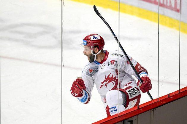 Martin Růžička z Třince se raduje z gólu.