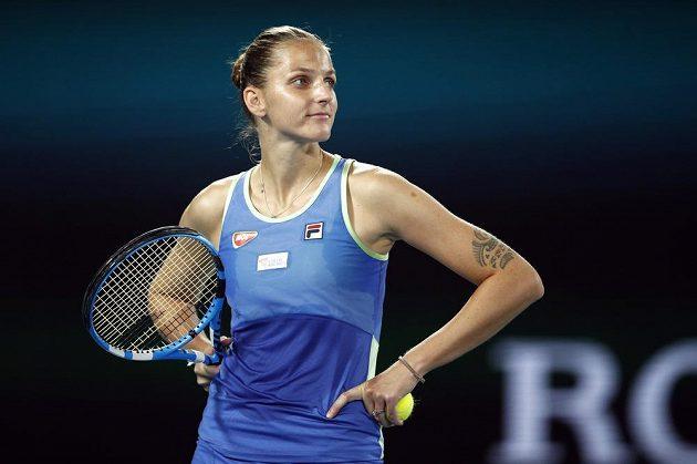 Česká tenistka Karolína Plíšková v akci během druhého kola Australian Open.