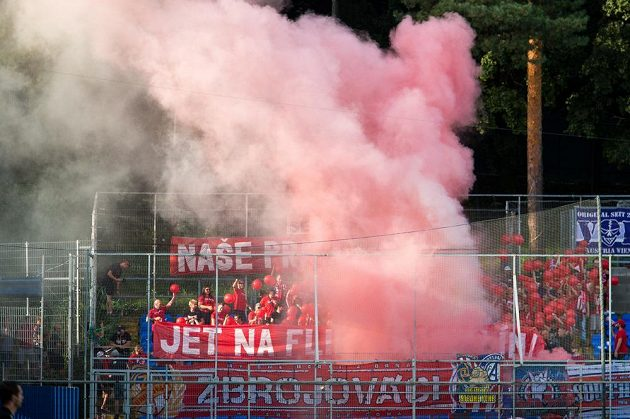Smokestacks in the sector of Brno fans during the match in Zlín.