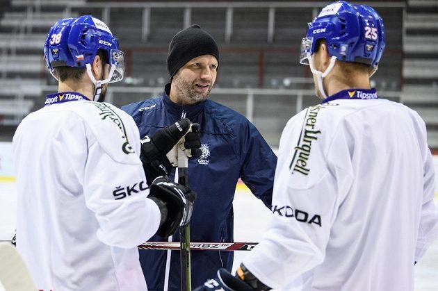 Michal Broš během tréninku hokejové reprezentace před turnajem Beijer Hockey Games.