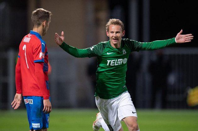 Jan Chramosta z Jablonce oslavuje proti Plzni gól na 3:0.