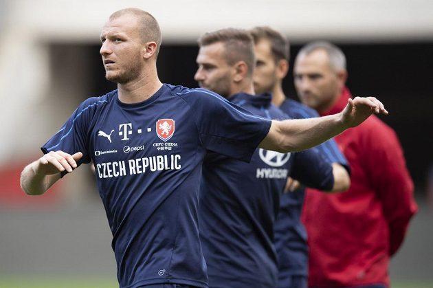 Plzeňský útočník Michael Krmenčík během tréninku fotbalové reprezentace.